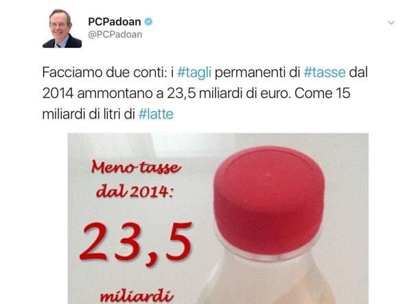 Pier Carlo Padoan replica a Salvini via tweet: 'Tagli delle tasse come 15 miliardi di litri di latte'