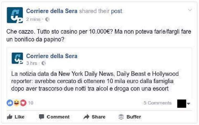 Lapo Elkann arrestato: il Corriere posta e cancella un messaggio imbarazzante su Facebook