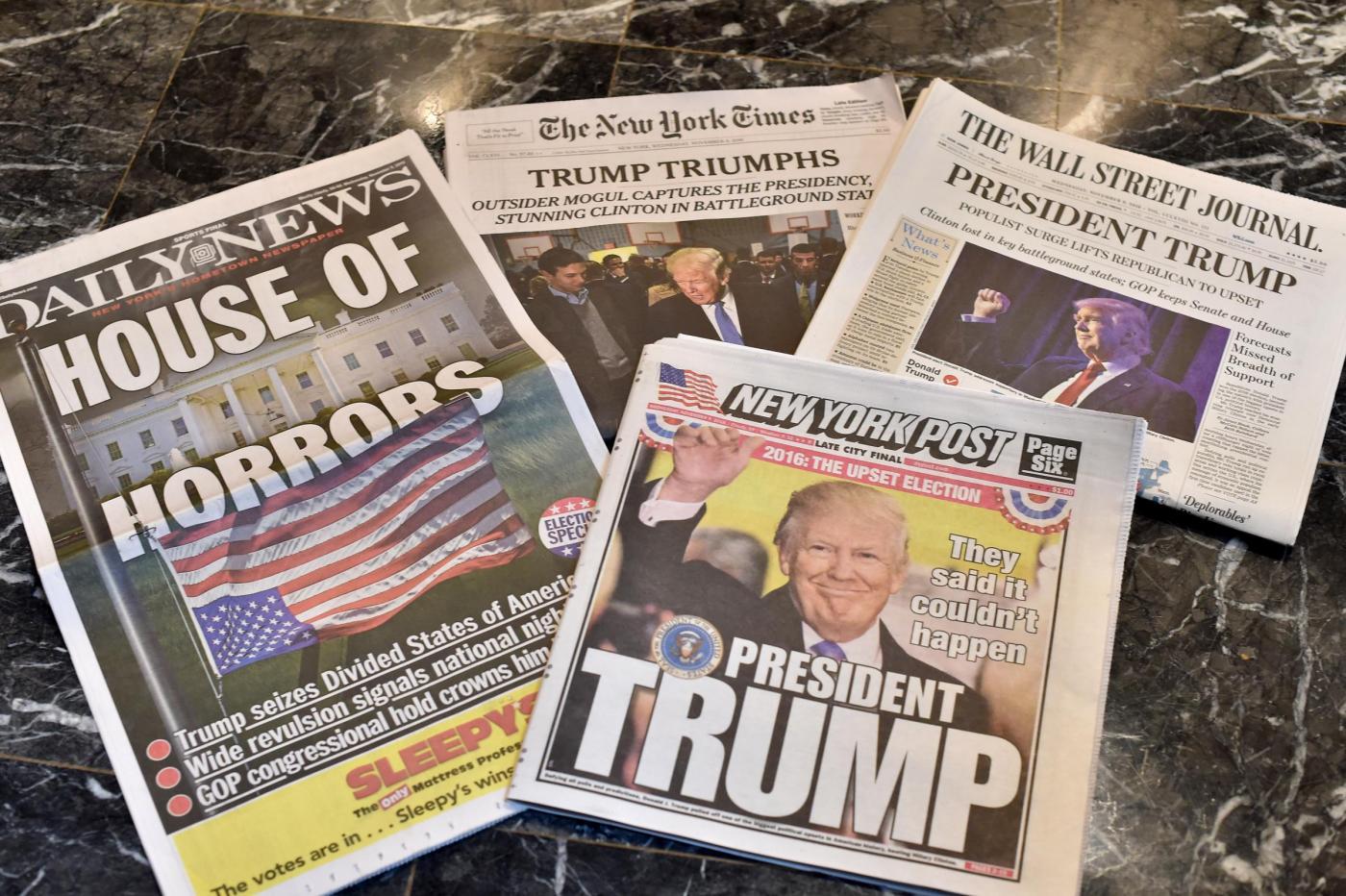 Le copertine dei giornali dopo la vittoria di Trump