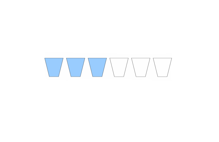 sei bicchieri in fila