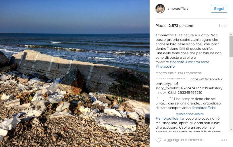 Ambra Angiolini su Instagram denuncia il degrado di Barletta: arrivano insulti e minacce