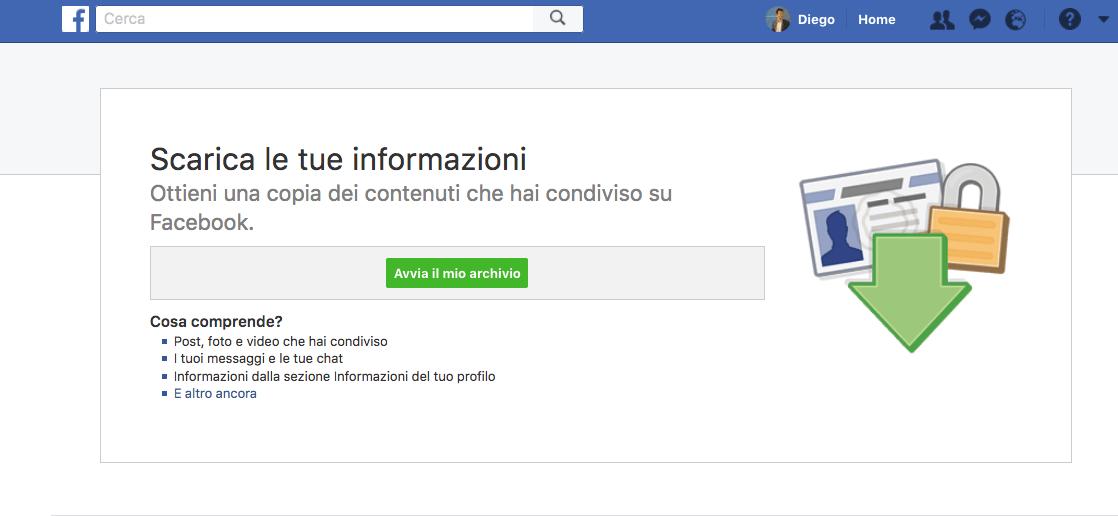 Cancellarsi Facebook backup