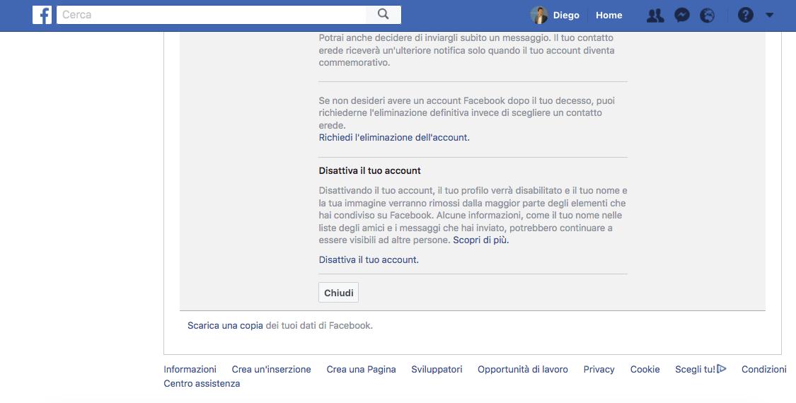 Cancellarsi Facebook pagina