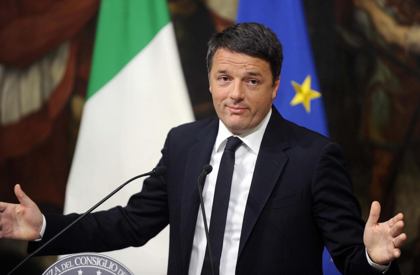Palazzo Chigi Conferenza Matteo Renzi dopo i risultati del referendum costituzionale