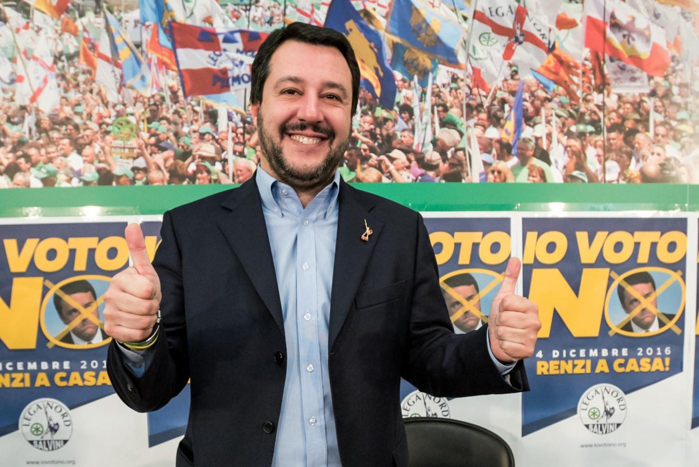 Conferenza di Matteo Salvini su risultati referendum costituzionale