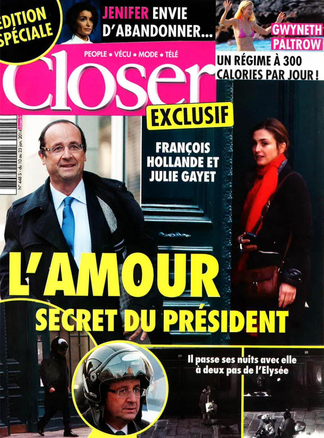 La rivista Closer con le immagini dell'incontro amoroso tra il Presidente Francois Hollande e l'attrice Julie Gayet.
