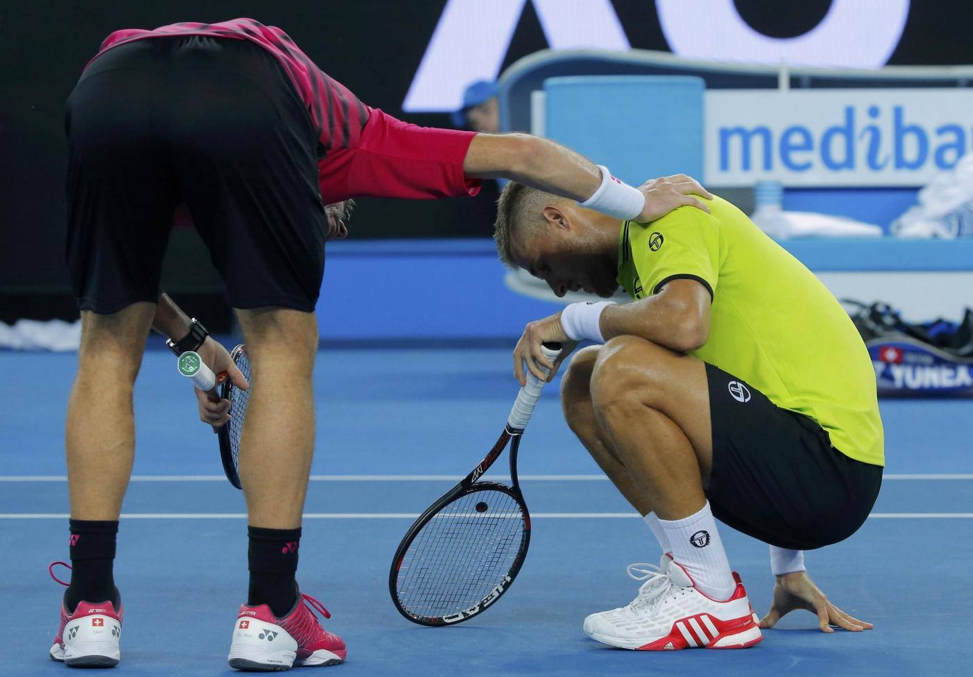Australian Open 2017 Wawrinka colpisce sui testicoli Martin Klizan