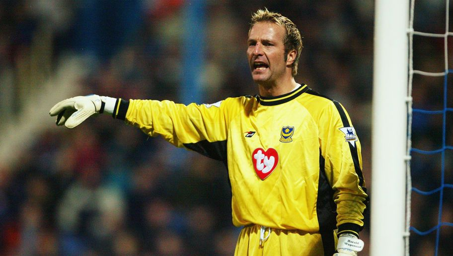 Harald Wapenaar of Portsmouth signals to a team mate