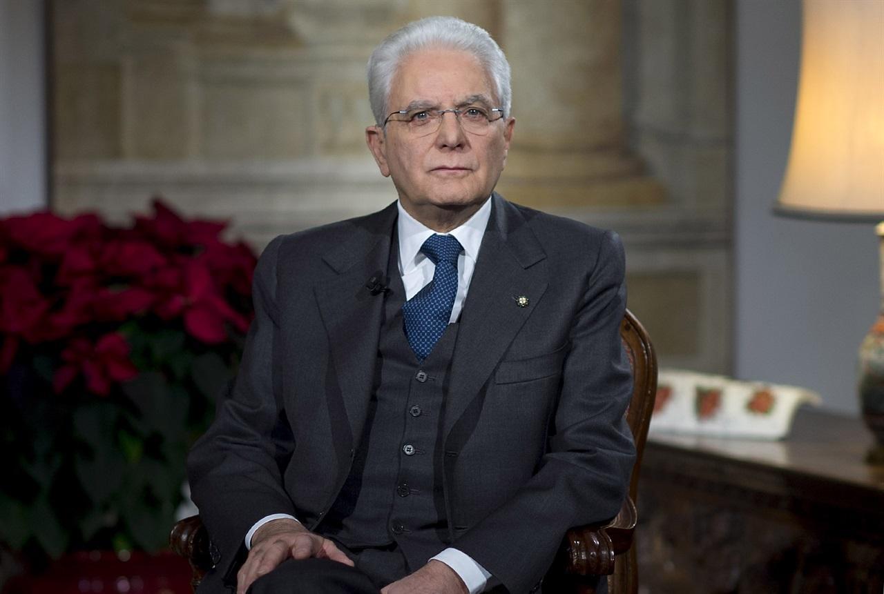 Il Presidente Sergio Mattarella durante il discorso di fine anno