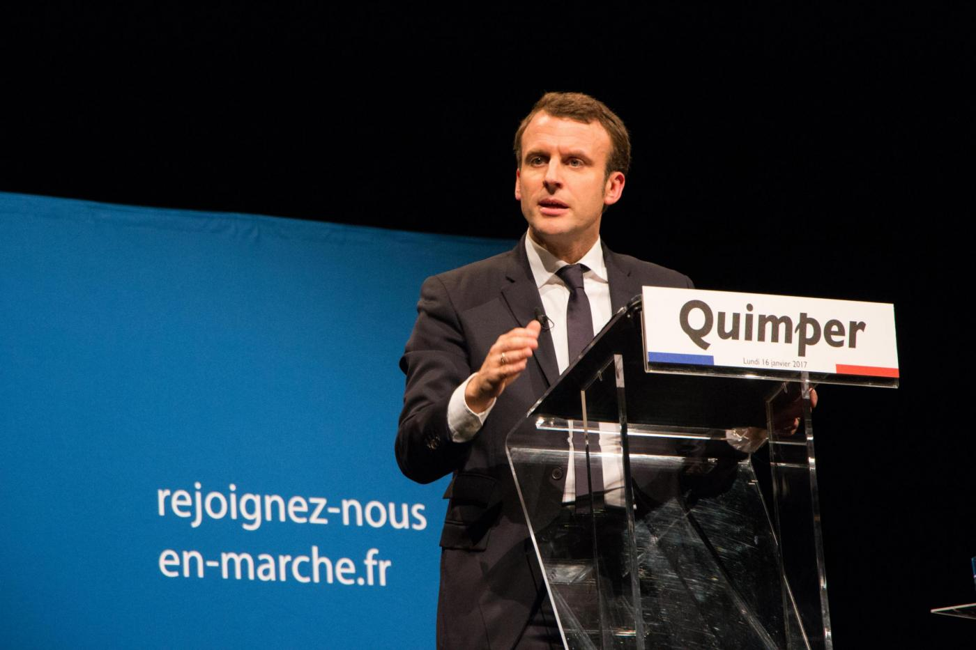 Emmanuel Macron in in campagna elettorale in Bretagna