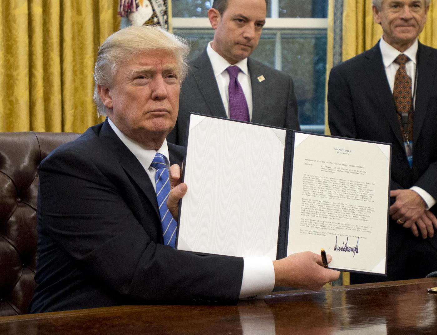 Donald Trump nello Studio Ovale della Casa Bianca