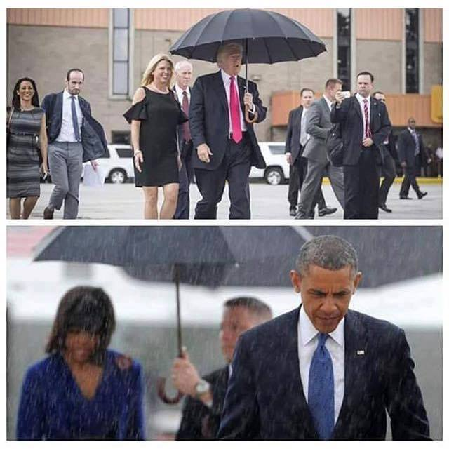 trump obama ombrello pioggia