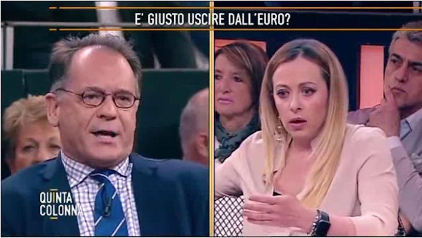 Giorgia Meloni contro Cecchi Paone, lite a Quinta Colonna: 'Fascista', 'Vattene in Germania'