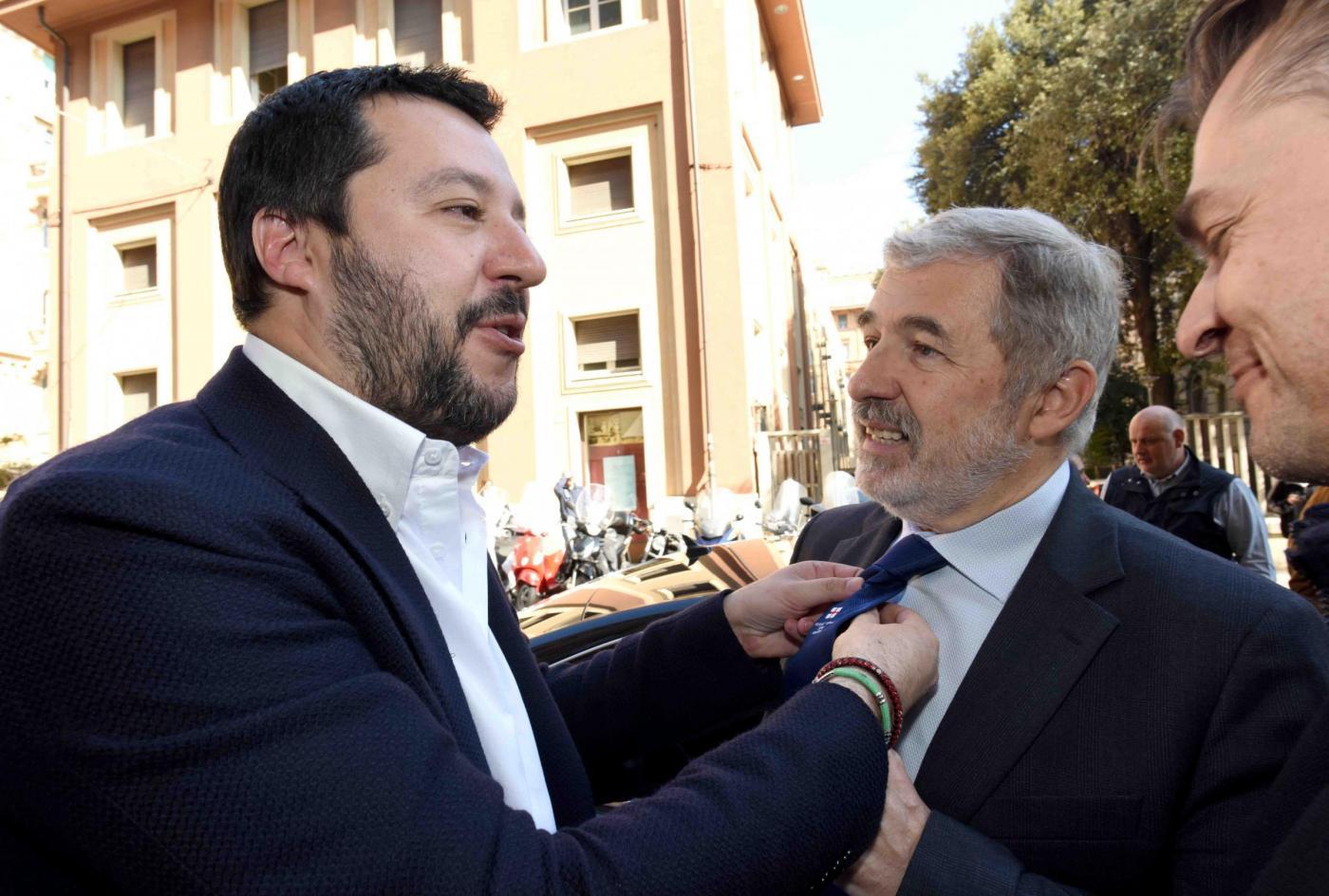 Matteo Salvini con il candidato a Genova Marco Bucci