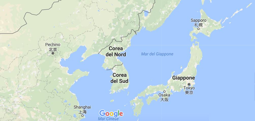 cartina corea nord confini