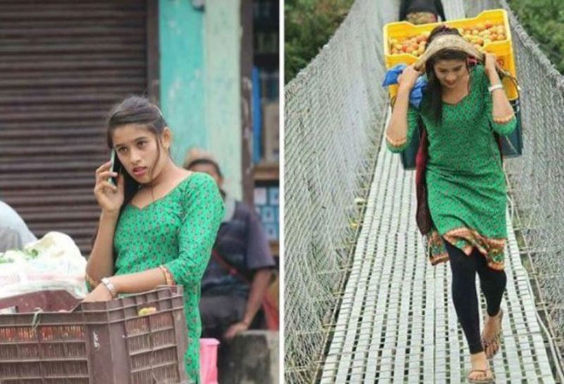 La foto della venditrice di frutta nepalese su Twitter è virale e lei diventa una star