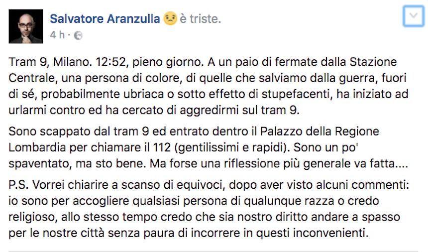 Salvatore Aranzulla e l'aggressore 'di colore': ira del web per il post su Facebook