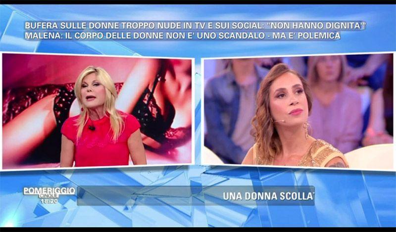 Pomeriggio 5, lite tra Patrizia Pellegrino e Malena: 'Tu vendi il tuo corpo'