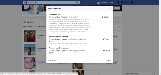Facebook amici privacy