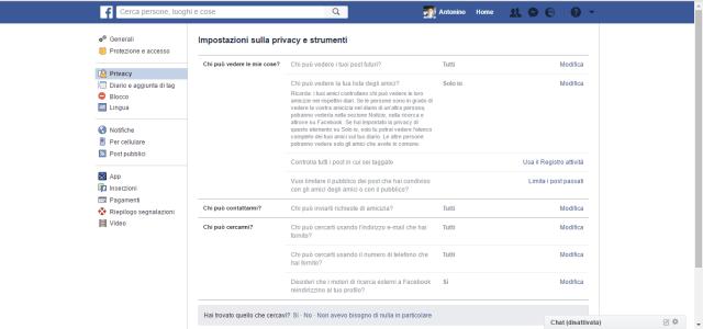 Facebook opzioni privacy