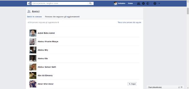 Facebook persone che seguono aggiornamenti