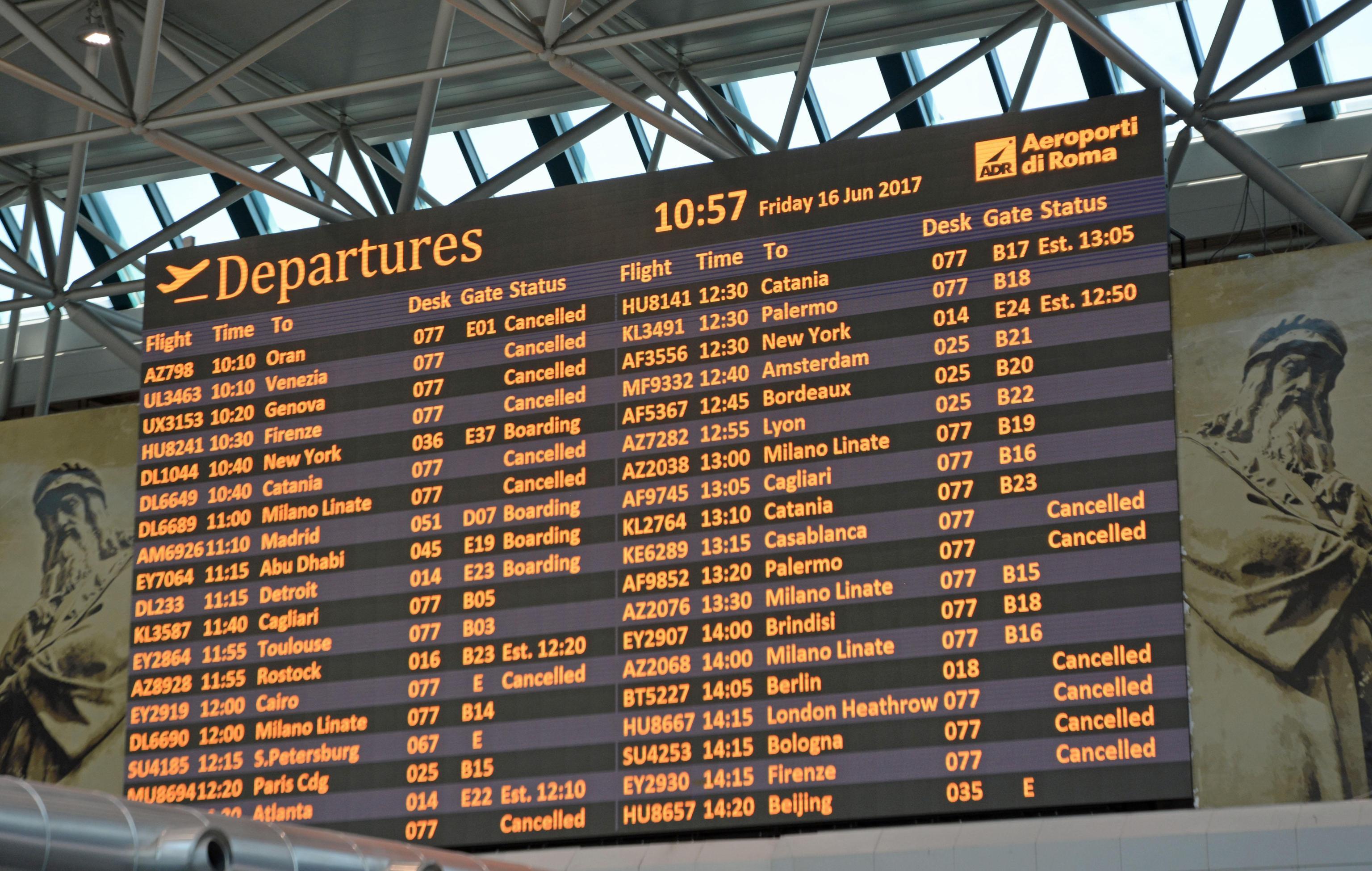 Sciopero aereo 5 luglio 2017 di 4 ore, lista dei voli garantiti