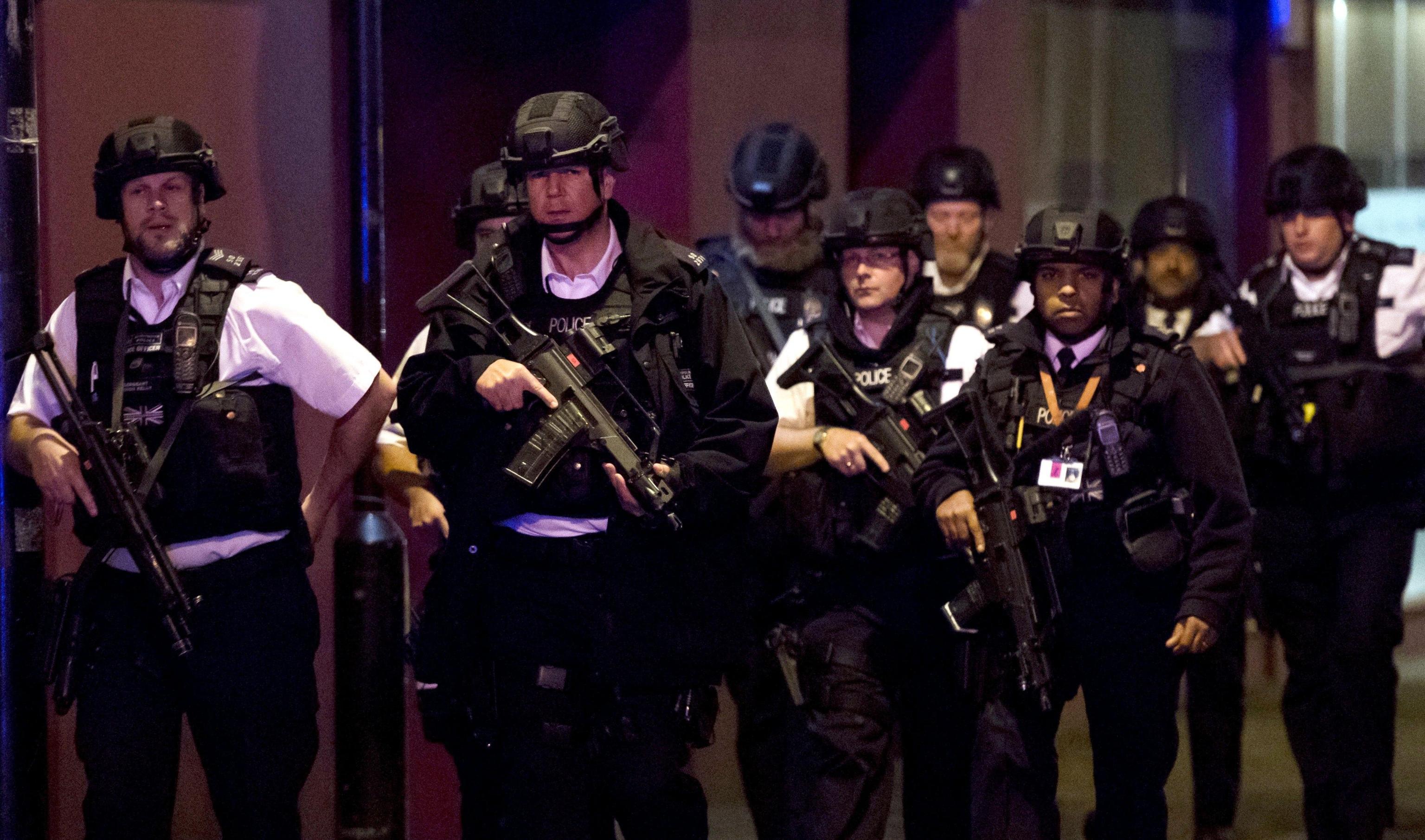 Reports of a van hitting pedestrials at London Bridge and stabbings in Borough Market
