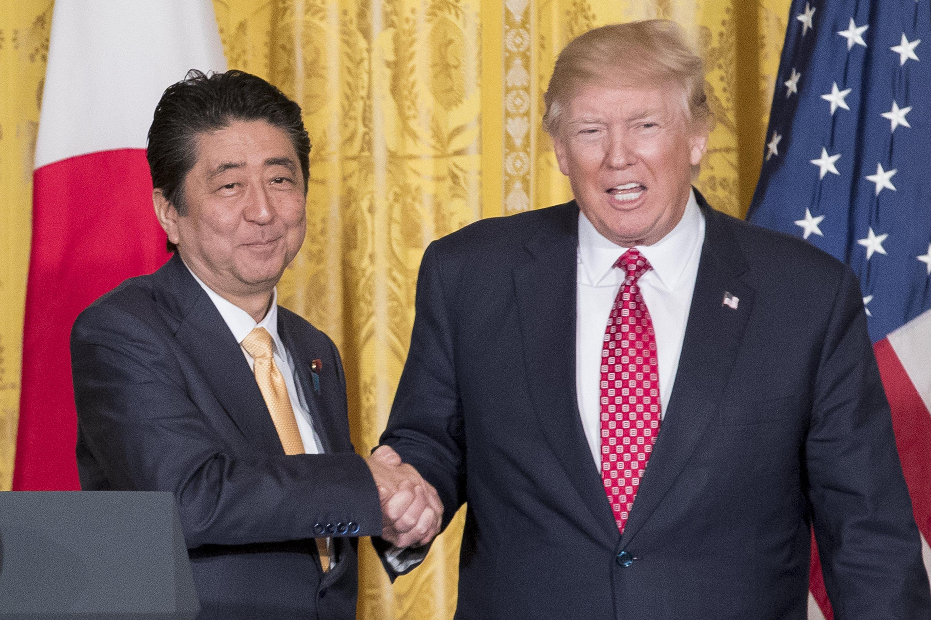 President Trump and Prime Minister Abe Hold Press Conference at White House