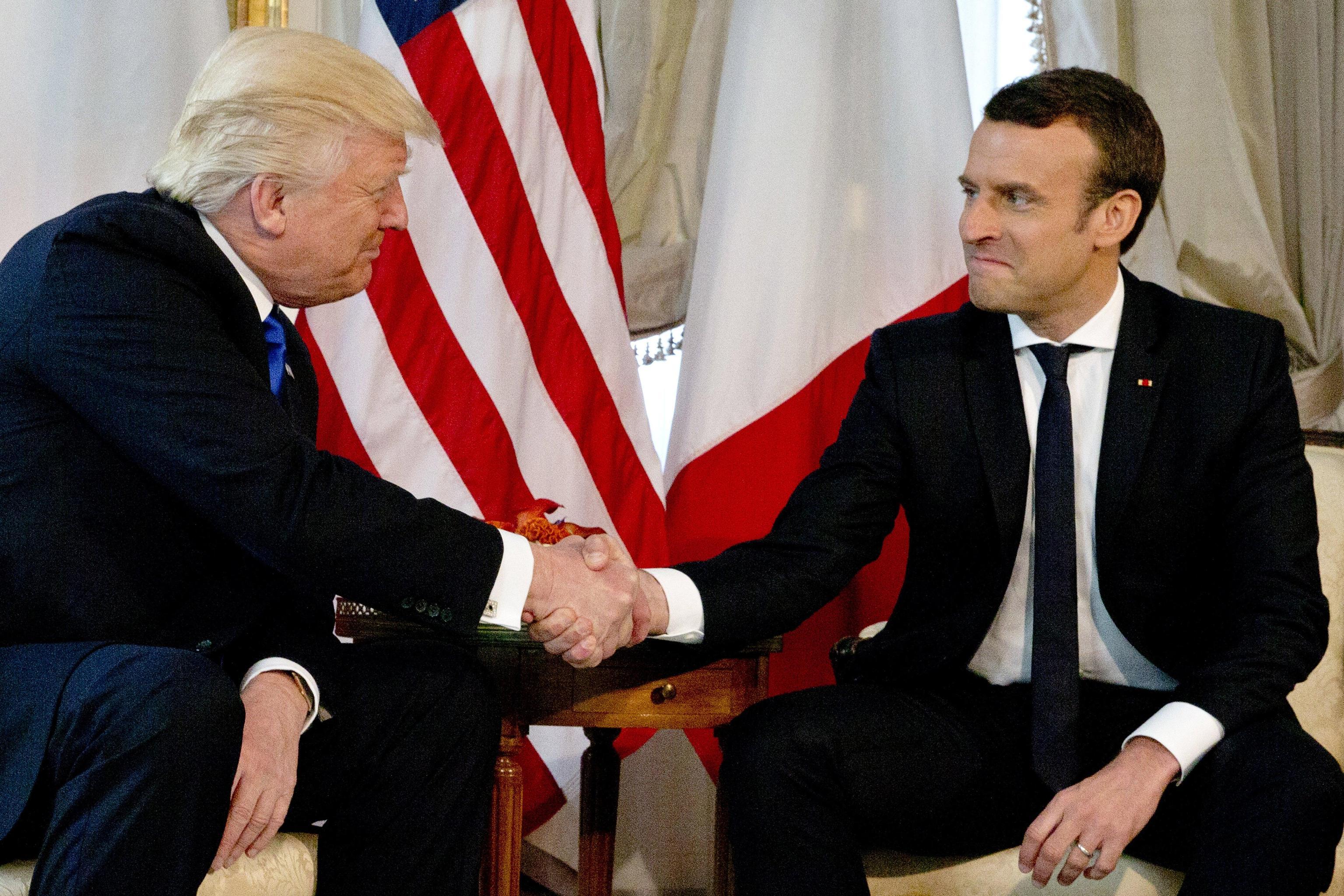 US President Trump meets French President Macron