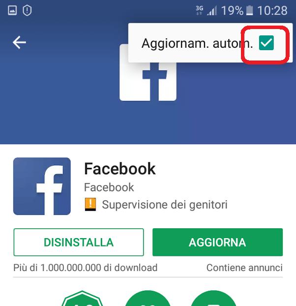 Disattivare aggiornamento FB
