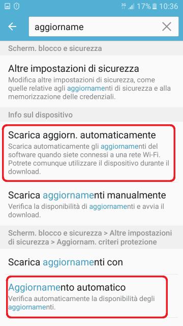 Disattivare aggiornamento software