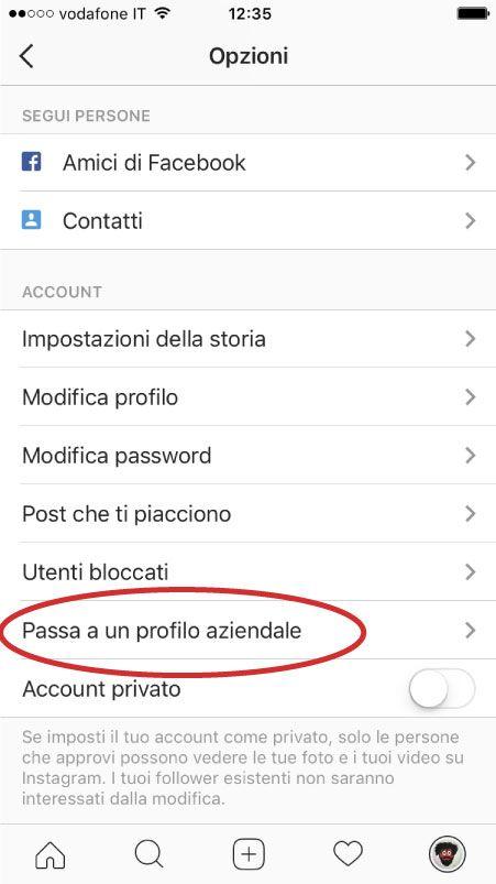 Instagram passa a profilo aziendale