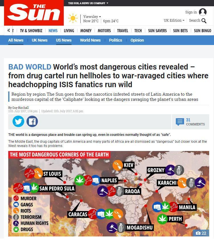 Classifica Sun, Napoli fra 10 città più pericolose al mondo