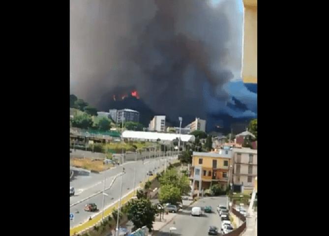 incendio Messina autostrada a18