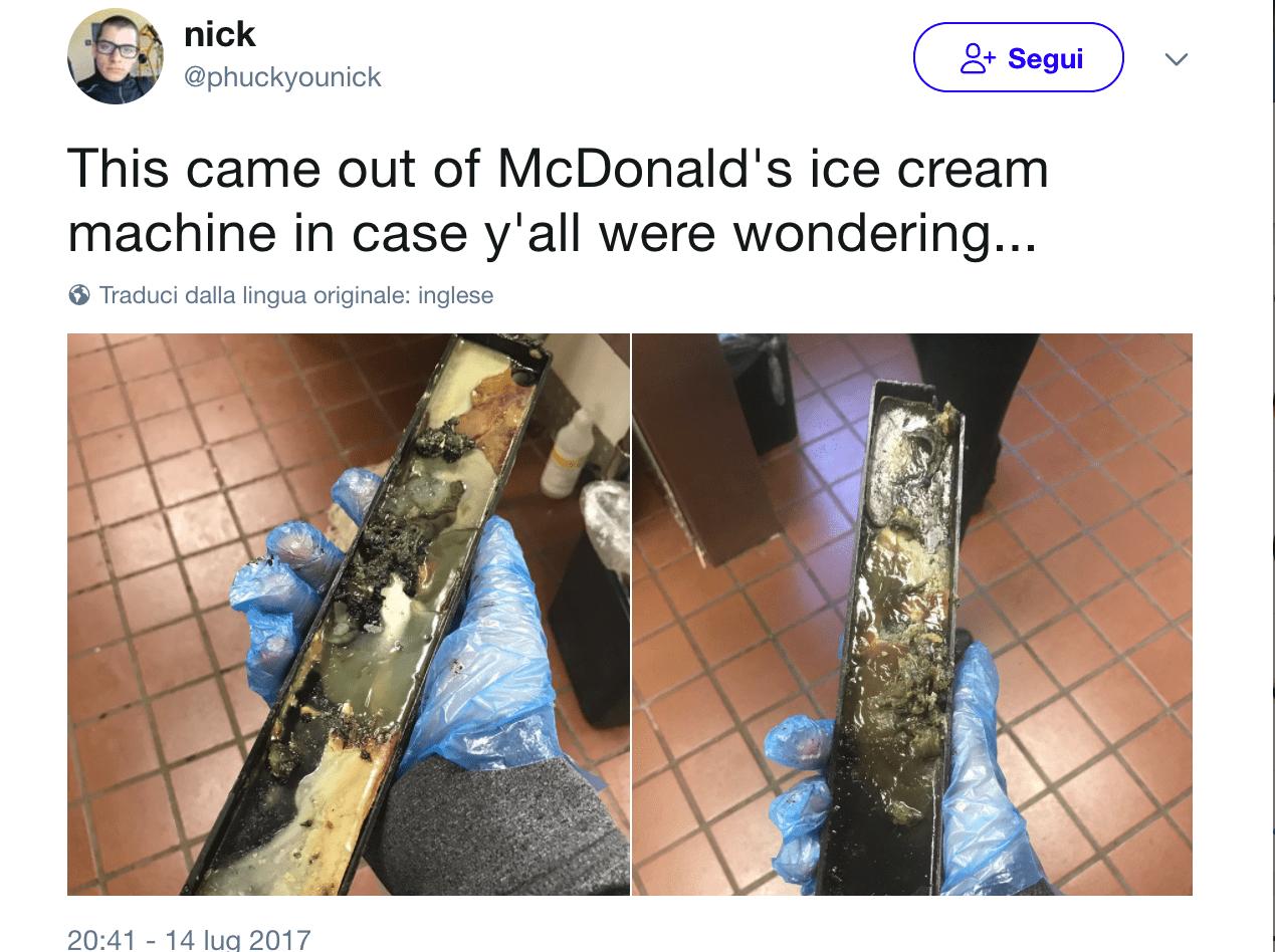 Sporco e grasso nella macchina del gelato di McDonald's: la foto diventa virale