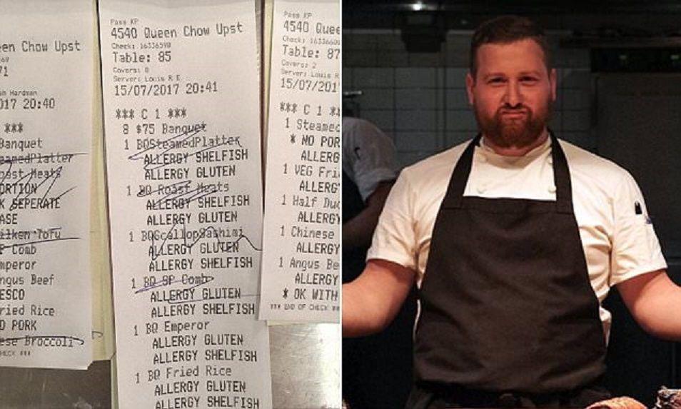 Chef si vendica dei clienti con 'finte' allergie postando un messaggio su Instagram