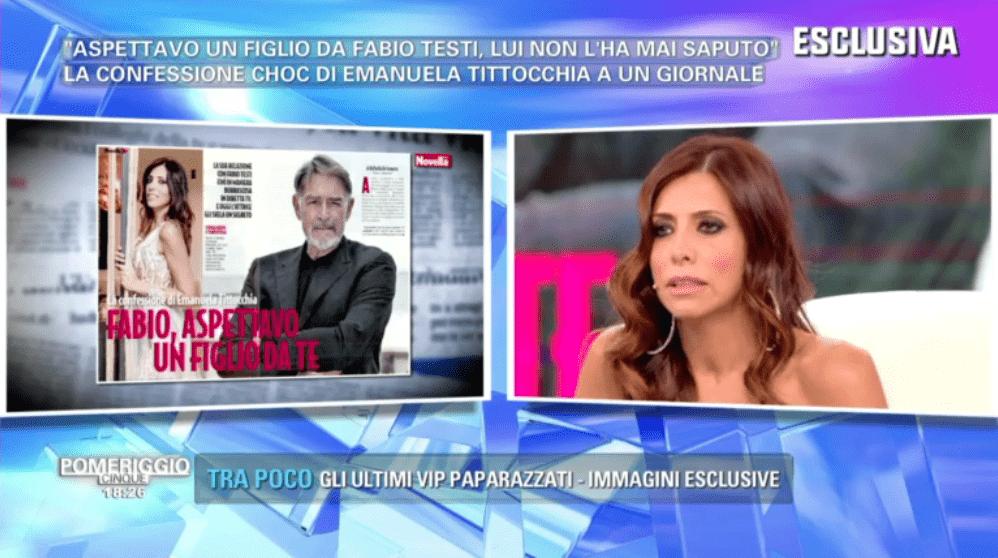 Pomeriggio 5, Emanuela Tittocchia: 'Ero incinta di Fabio Testi, ma ho abortito'