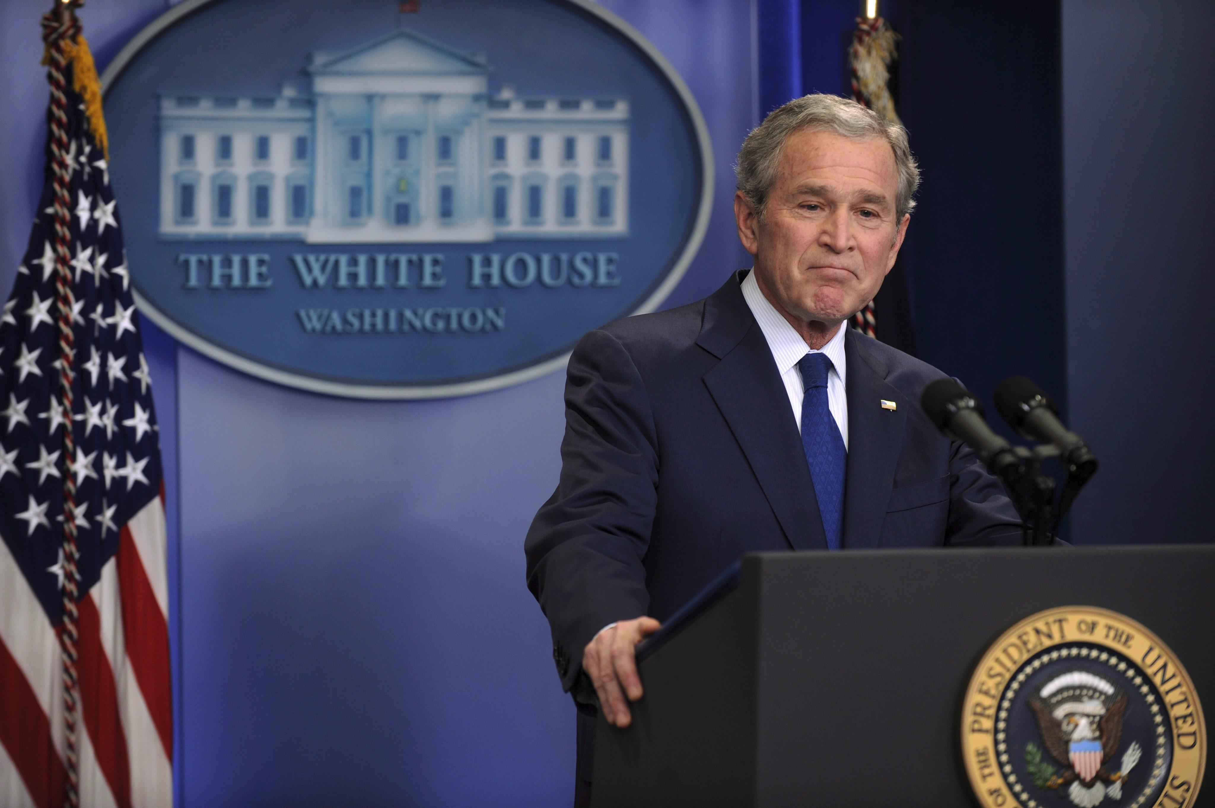 US President George W. Bush hosts final press conference of his presidency in the White House press briefing room.