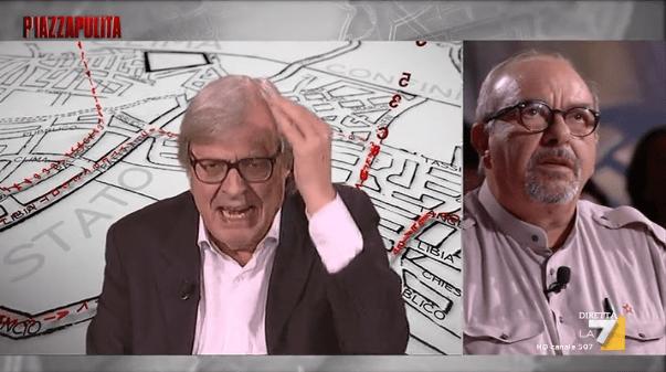 Piazzapulita, Vittorio Sgarbi contro Vauro: 'Sei criminale e comunista'