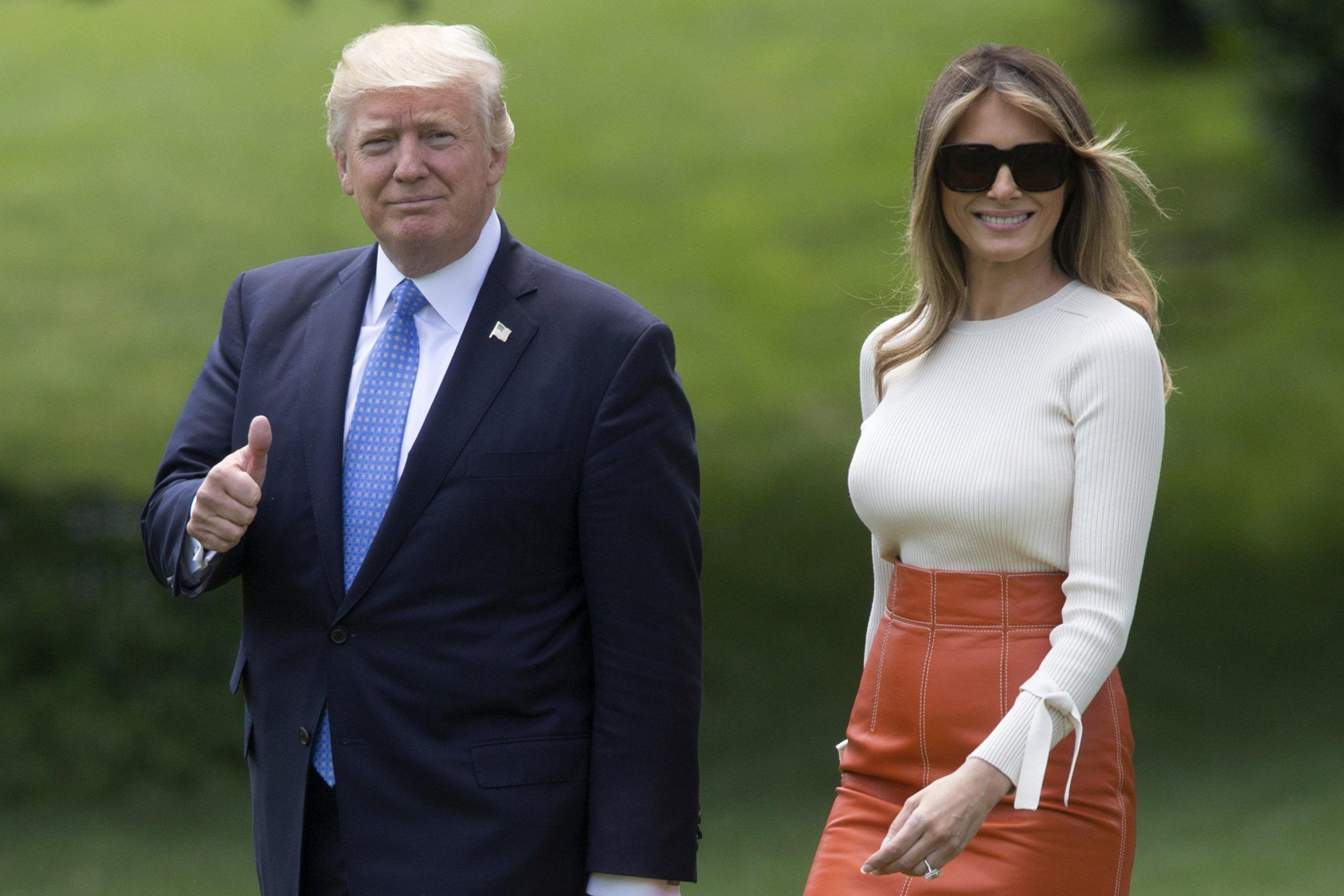 US President Donald J. Trump departs the South Lawn of the White House