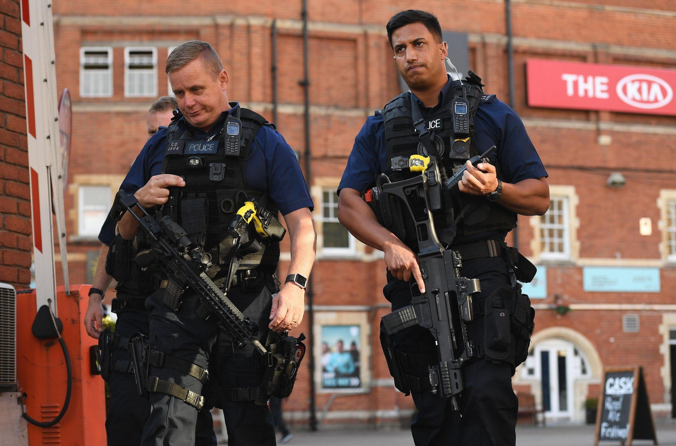 Police react to incident at the Oval as someone fired an arrow onto the field