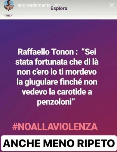 Andrea Damante su IG contro Raffaello Tonon