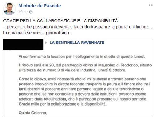 Quinta Colonna a Ravenna sindaco