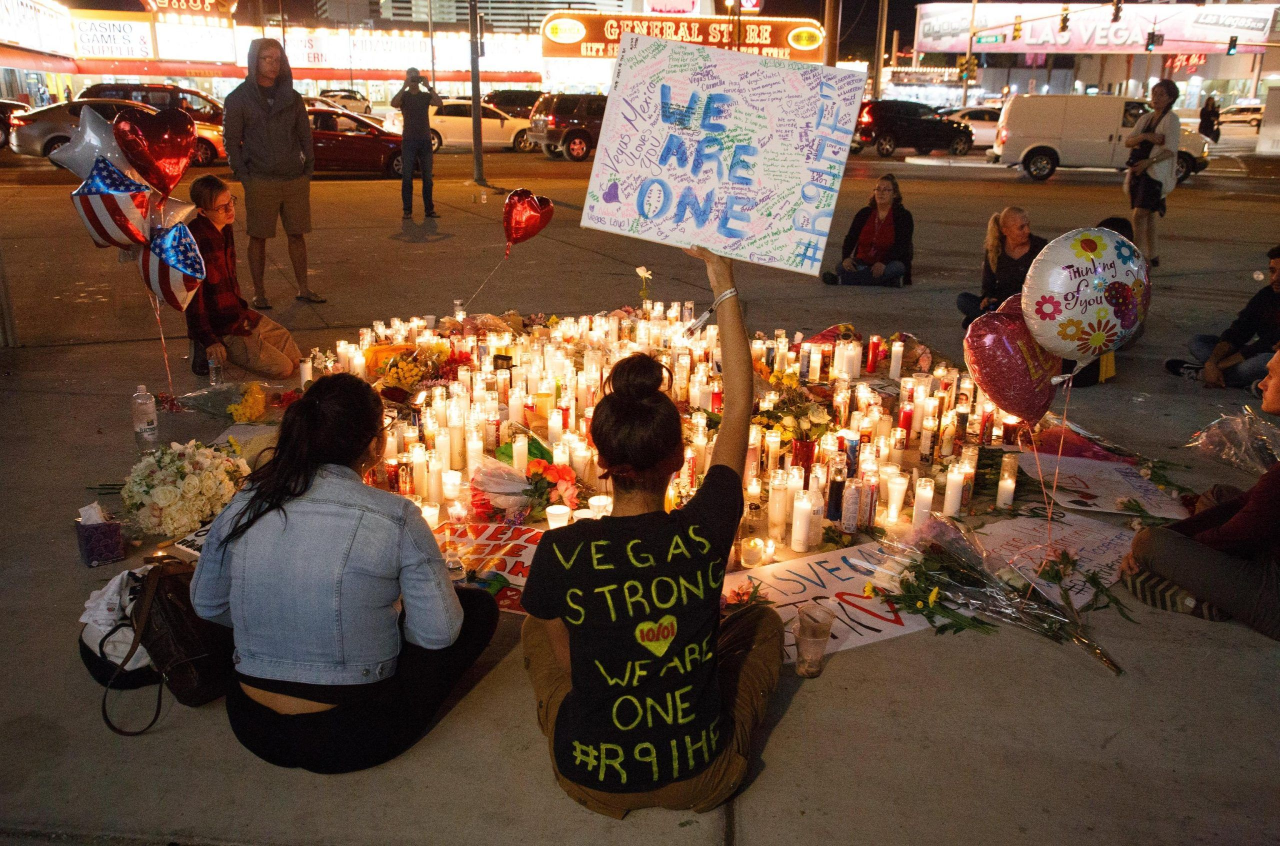 Makeshift memorial for the victims of the Las Vegas Strip mass shooting