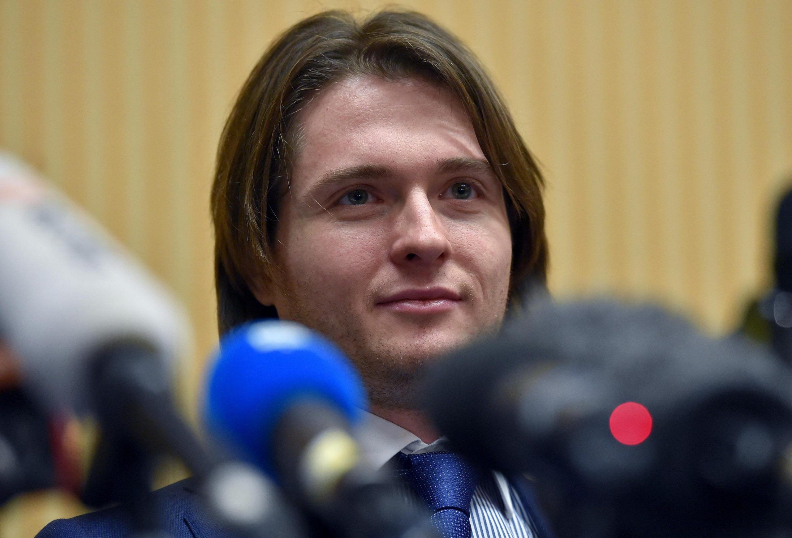 Meredith: Raffaele Sollecito during a press conference in Rome