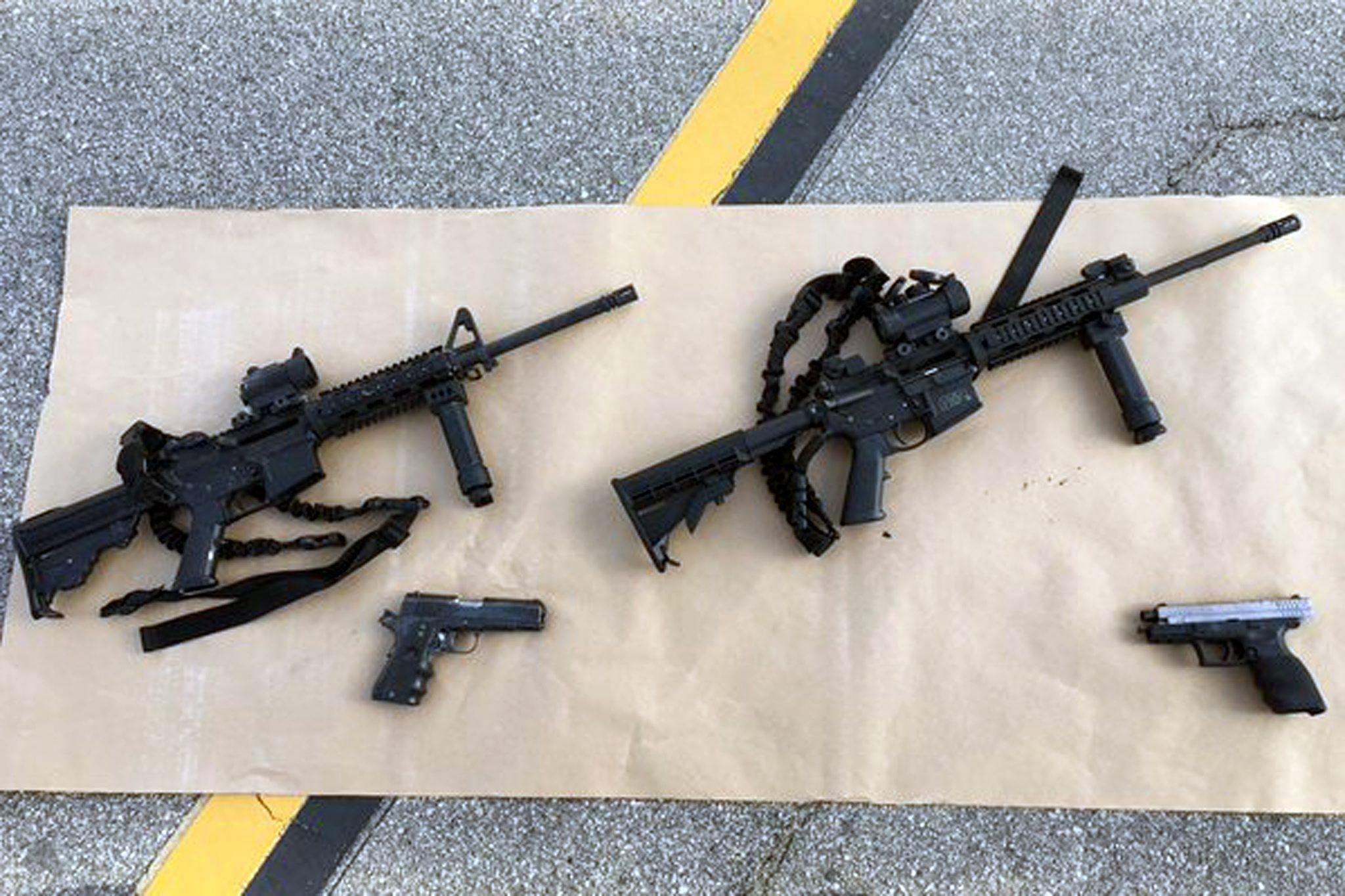 Weapons and ammunition carried by suspects involved in a mass shooting in San Bernardino, California