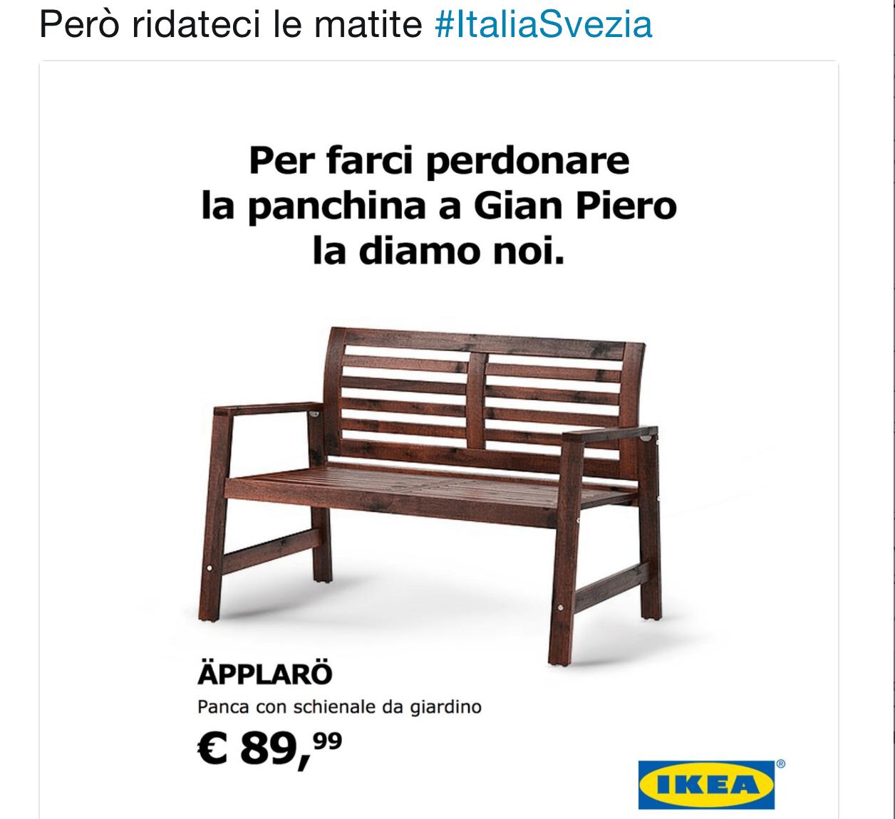 Ironia Ikea dopo l'eliminazione dell'Italia dai Mondiali: 'Diamo noi una panchina a Ventura'