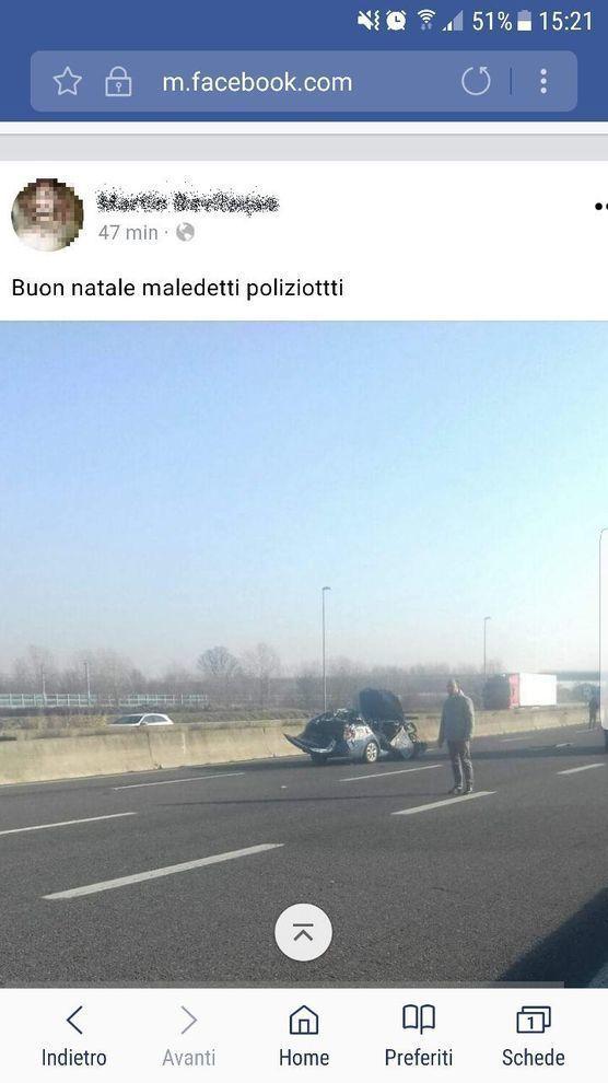 post choc facebook poliziotto morto