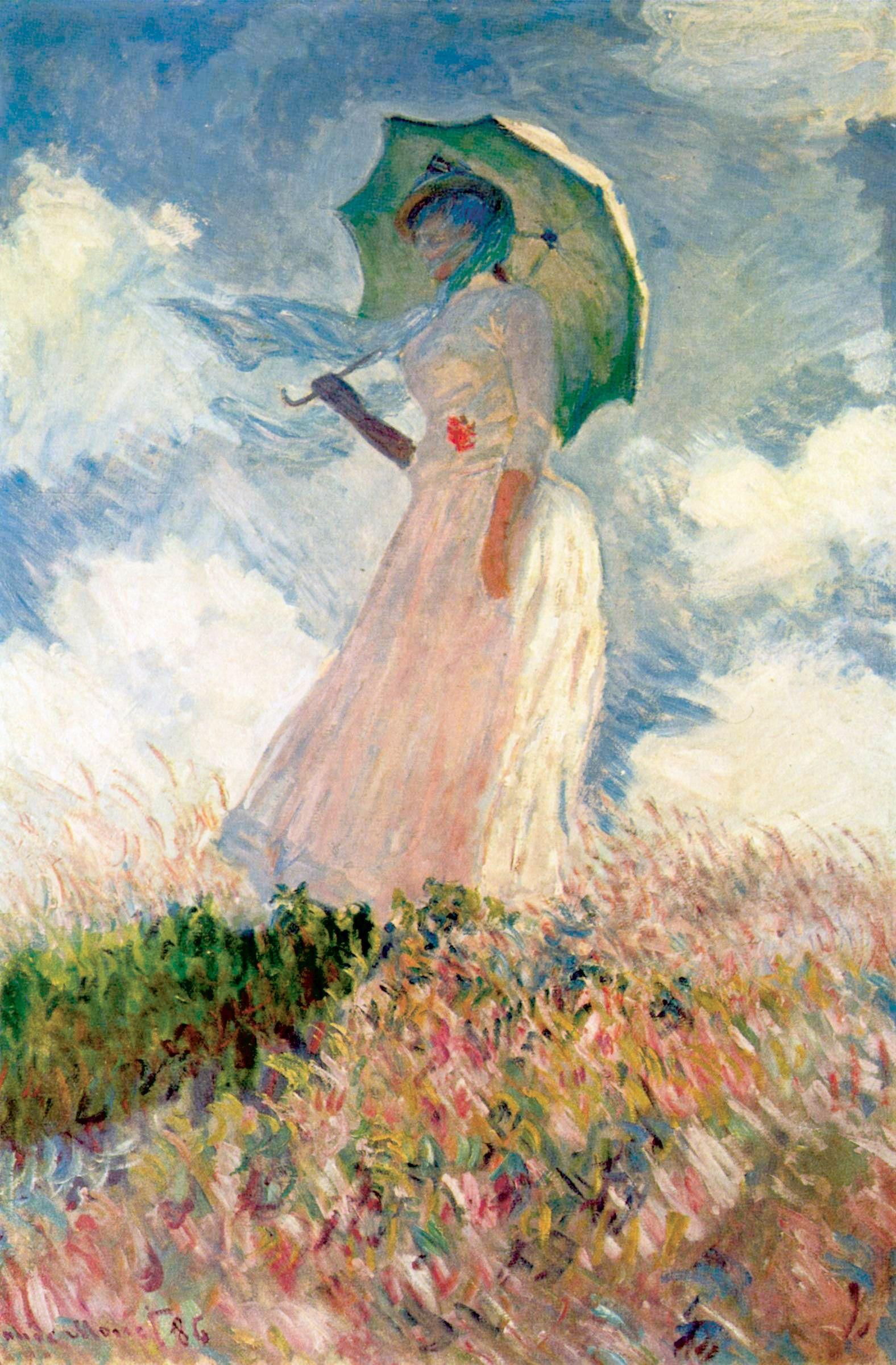 quadri più famosi di monet, donna con il parasole