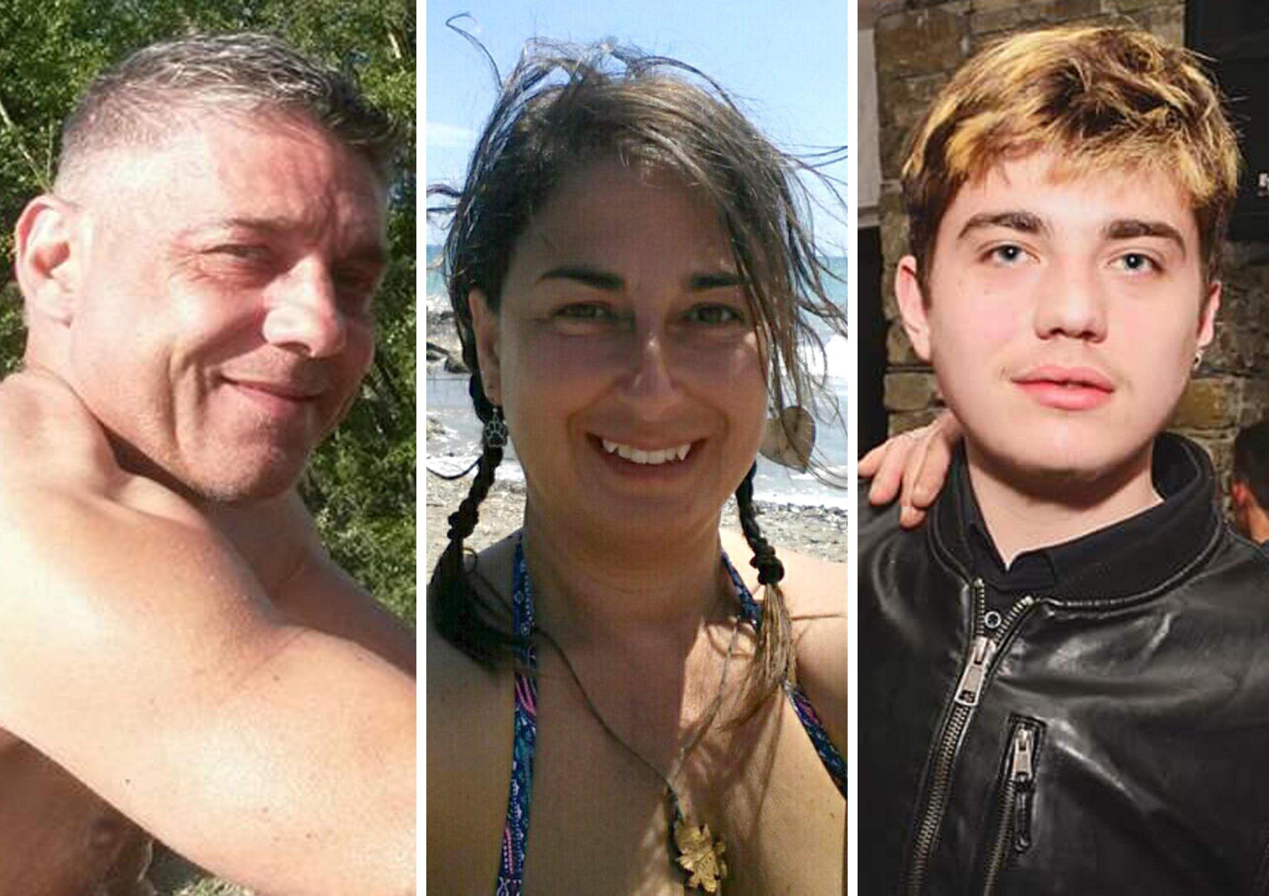 Da sinistra Luca Baroni, Mariangela Mele, Mattia Baroni, i membri della famiglia morta a causa dell'intossicazione da monossido